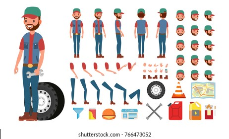 Truck Driver Vector. Animated Trucker Driver Character Creation Set. Full Length, Front, Side, Back View, Accessories, Poses, Face Emotions, Gestures. Isolated Flat Cartoon Illustration