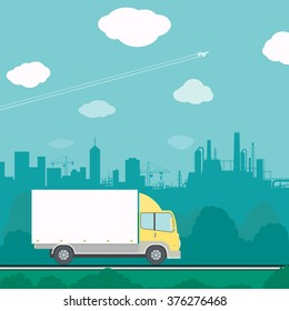 Truck driving on the road. Cargo transportation. Stock vector illustration.