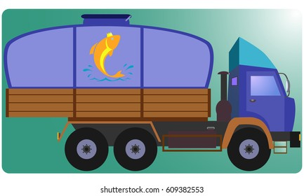 Truck fish. A tank of fish. Flat design, vector illustration, vector.
