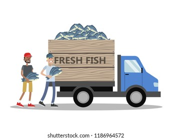 Truck with fresh fish delivery. People carry fish to the vehicle. Seafood business. Isolated vector flat illustration