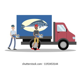 Truck with fresh fish delivery. People carry box with fish to the vehicle. Seafood business. Isolated vector flat illustration