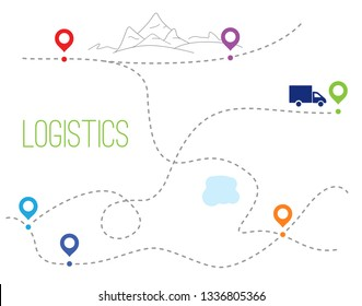 The truck goes from point to point past the lake and mountains. dotted trace and the direction of traffic. Flat vector outline style illustration.