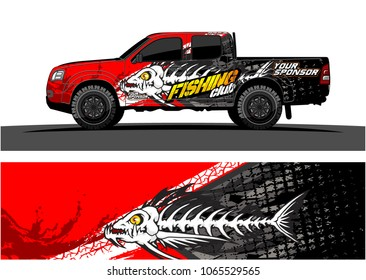 Truck Graphic. Cartoon of angry fish bones with grunge background
