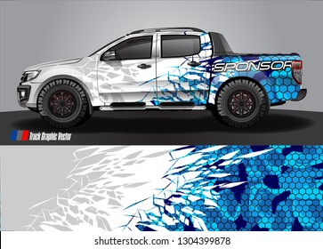 Truck Graphic designs. shattered glass with grunge background vector concept for vinyl Wrap and Vehicle branding