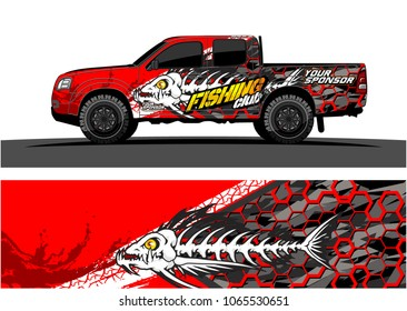 truck graphic vector. illustration of angry fish bones with grunge background