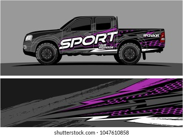 truck graphic vector kit. racing background for cars, vehicle and truck vinyl sticker wrap. no gradient, just solid color only.
