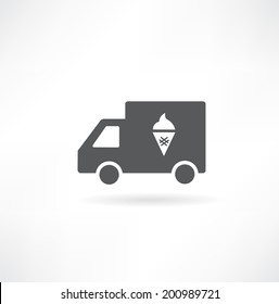 Truck with ice cream icon