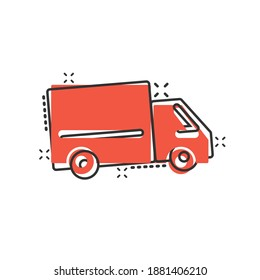 Truck icon in comic style. Auto delivery cartoon vector illustration on white isolated background. Lorry automobile splash effect business concept.