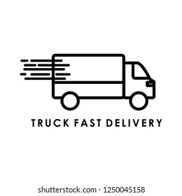 TRUCK ICON. Delivery truck icon isolated on round background. Vector simple illustration.