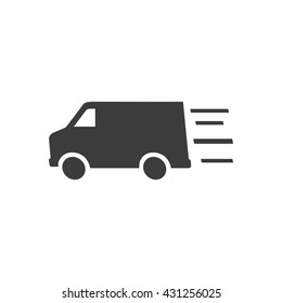Truck icon. Flat vector illustration in black on white background.