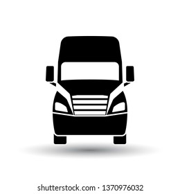 Truck icon front view. Black on White Background With Shadow. Vector Illustration.