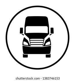 Truck icon front view. Thin Circle Stencil Design. Vector Illustration.