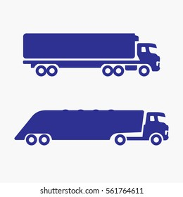 Truck Icon Lorry. Flat Isolated  Vector Graphic  Two Version