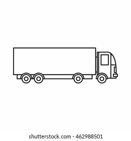 Truck icon. Outline illustration of truck vector icon isolated on white background. Shipping symbol
