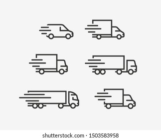 Truck icon set. Freight, delivery symbol. Vector illustration
