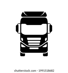 Truck icon. Trunk tractor. Black silhouette. Front view. Vector simple flat graphic illustration. The isolated object on a white background. Isolate.