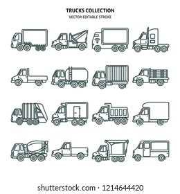 Truck icons set in thin line style