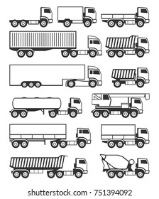 Truck icons set vector.