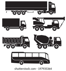 Truck icons set. Vector collection of vehicles:  Concrete mixer truck, Truck crane, Dump truck, Truck with cargo container, Lorry and Bus.