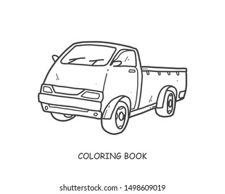 Truck illustration and pickup hand drawn  for coloring and line art. Kids transportation equipment coloring for education.