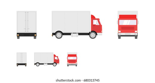 Truck illustration. Side, front, back views of transport truck isolated on white background. Pixel perfect, modern flat design illustration.