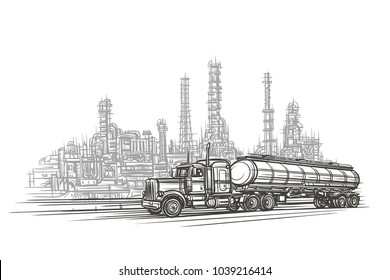 Truck in an industrial zone illustration.  Vector.
