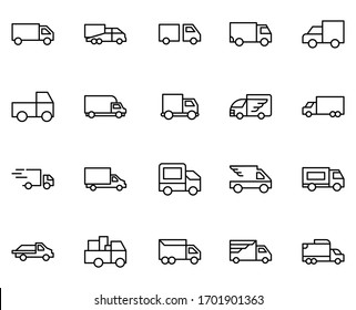 Truck line icon set. Collection of vector symbol in trendy flat style on white background. Truck sings for design.