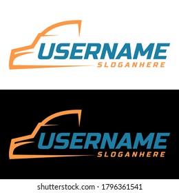 truck line logo design concept vector