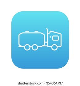 Truck liquid cargo line icon for web, mobile and infographics. Vector white icon on the blue gradient square with rounded corners isolated on white background.