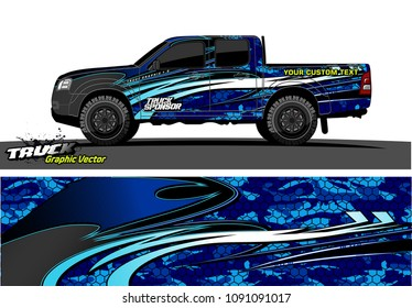 truck livery wrap design vector. abstract background for vehicle vinyl branding