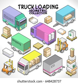Truck loading with trailer, boxes, fork truck and pallets (isometric items collection)