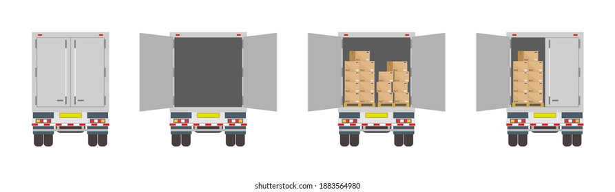 Truck of logistic. Back of delivery van. Open and closed door of container with boxes. Cargo in truck for transportation and export. Car for delivery of good from warehouse. Cartoon lorry rear. Vector