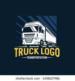 Truck logo. Transportation.  Monochrome style. Vector illustration.