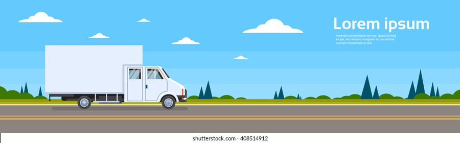 Truck Lorry On Road Cargo Shipping Delivery Flat Vector Illustration