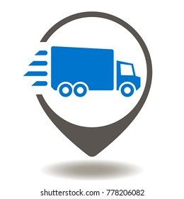 Truck Map Pointer Icon Vector. Supply Chain Management and Distribution Illustration. Fast Global Shipping Delivery Service Logo. Move Vehicle Place Button Symbol.