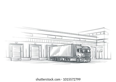 Truck near loading dock/logistics firm illustration. Vector. eps 10.