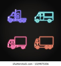 Truck neon icons set in line style