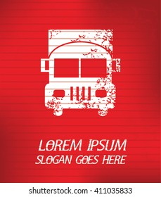 Truck on red background,poster grunge design