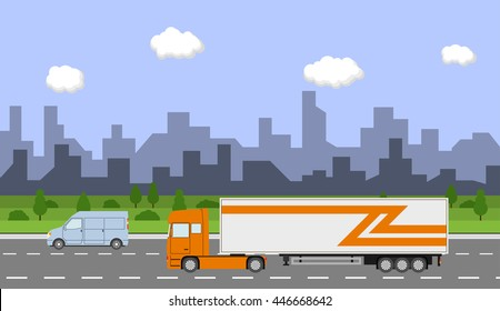 Truck on the road. City day time landscape. Heavy trailer truck. Logistic and delivery concept. Vector illustration.