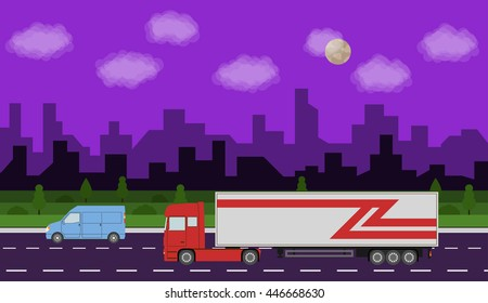 Truck on the road. City night time landscape. Heavy trailer truck. Logistic and delivery concept. Vector illustration.