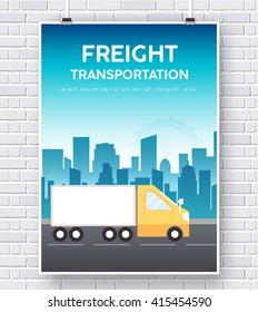 Truck on road icon poster on brick wall