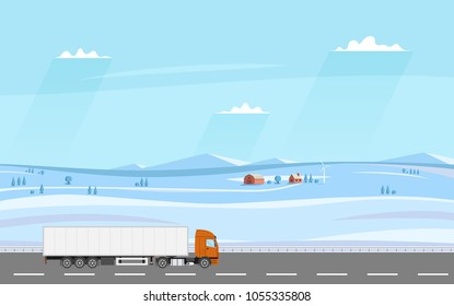 Truck on the road. Winter rural landscape with farm. Heavy trailer truck. Logistic and delivery concept. Vector illustration.