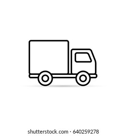 Truck outline icon, vector isolated delivery transport simple symbol.