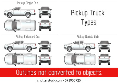 truck pickup types template blueprint drawing outline strokes not expanded