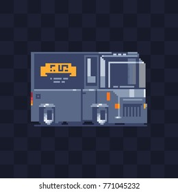 Truck pixel art icon. Food van. Game assets. 8-bit style. Sticker design. Isolated abstract vector illustration.