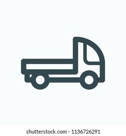Truck with platform, lorry platform vector icon