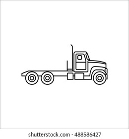 Truck profile sign line symbol icon on background