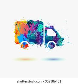 Truck rainbow splash icon