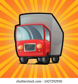 Truck with red cab. Freight company, transportation and moving. Pop art vintage comic book style. Vector illustration
