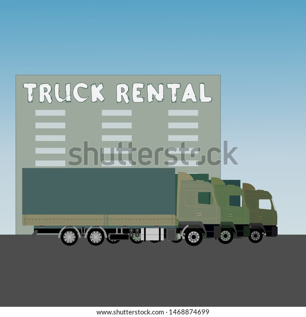 Truck Rental Service Colorful Vector Illustration Stock Vector